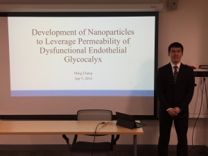 Congratulations to Ming Cheng for successfully defending his thesis on nanoparticle permeability in dysfunctional endothelial glycocalyx!