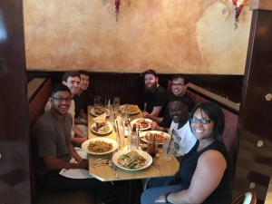 Cheesecake Factory lunch to welcome in new Co-op student Alex Caraballo and to thank long time research assistant Gerard O'Neil for his valuable contribution to the lab.